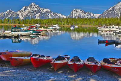 Kayaks And Boats On Colter Bay Poster
