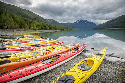Kayaks In A Row On Shore At Eklutna Poster by Remsberg Inc