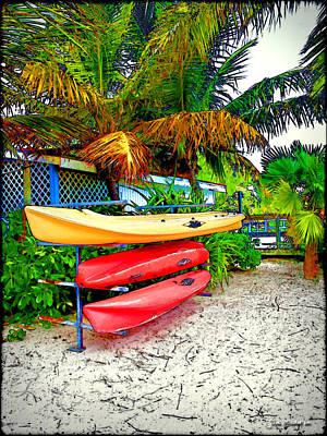 Kayaks In Paradise Poster by Joan  Minchak