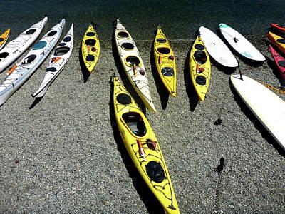Kayaks On The Beach Poster by Anne Mott