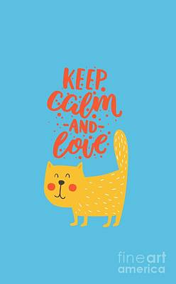 Keep Calm And Love Cute Animals Poster
