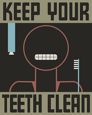 Keep Your Teeth Clean Poster by Finlay McNevin