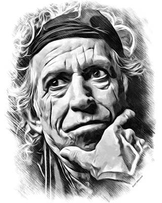 Keith Richards Sketch Poster by Scott Wallace