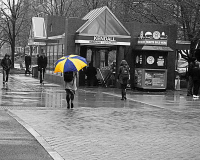 Kendall Square Rainy Day Cambridge Ma Blue And Yellow Poster by Toby McGuire