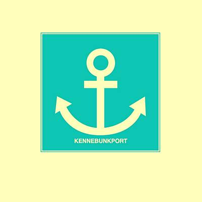 Kennebunkport Yellow Anchor Poster by Brandi Fitzgerald