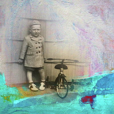 Poster featuring the mixed media Kent Tricycle by Nancy Merkle