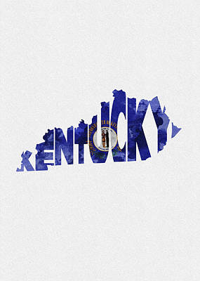 Kentucky Typographic Map Flag Poster