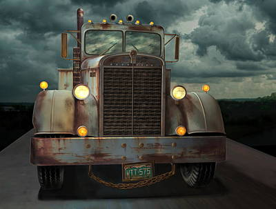 Poster featuring the digital art Kenworth Old Workhorse by Stuart Swartz