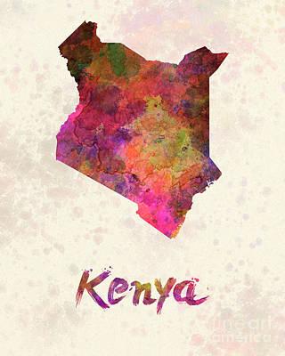 Kenya In Watercolor Poster