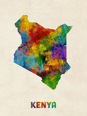 Kenya Watercolor Map Poster by Michael Tompsett