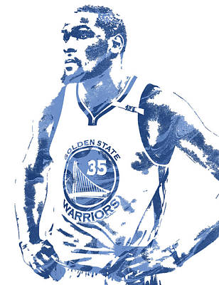 Kevin Durant Golden State Warriors Pixel Art 5 Poster by Joe Hamilton