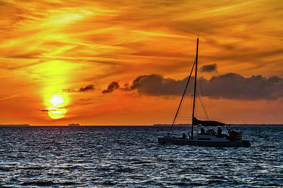 Poster featuring the photograph Key West Double Sun Sunset by Bob Slitzan