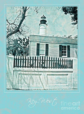Key West Lighthouse Impression With Border Poster by John Stephens