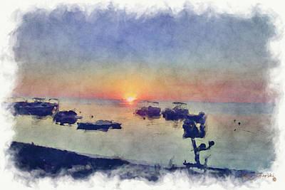 Keys Sunset Watercolor Poster