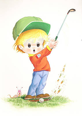 Kid Golf Poster by Laura Greco