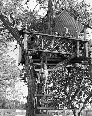 Kids Playing In Tree House, C.1960s Poster by D. Corson/ClassicStock