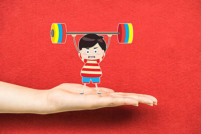 Kids Weightlifting On A Hand Poster by Dai Trinh Huu