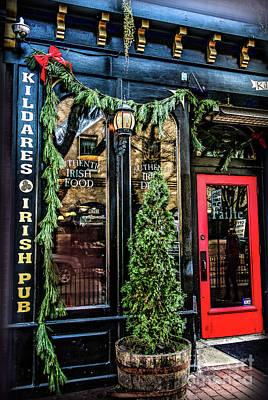 Kildares Irish Pub At Christmas Poster