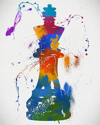 King Chess Piece Paint Splatter Poster by Dan Sproul