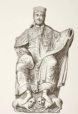 King Dagobert I. After A Bas-relief Poster