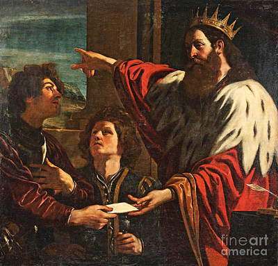 King David Giving Uriah A Letter Poster by MotionAge Designs