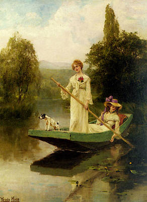 King Henry John Yeend Two Ladies Punting On The River Poster