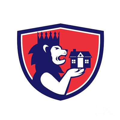 King Lion Holding House Crest Retro Poster