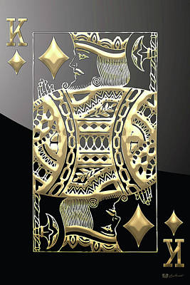 King Of Diamonds In Gold On Black  Poster
