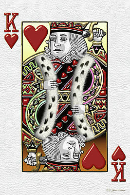 King Of Hearts Over White Leather  Poster