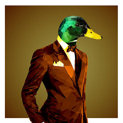 Geometric Mallard Duck Poster by Gallini Design