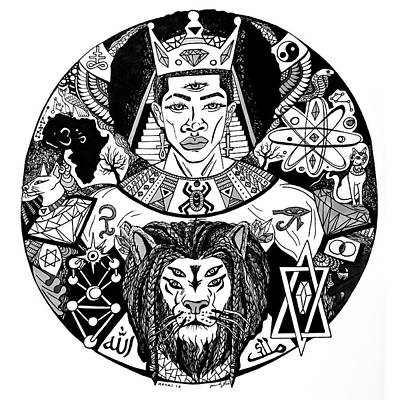 King Solomon And Lion Of Judah Drawing Poster