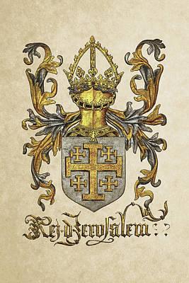 Kingdom Of Jerusalem Coat Of Arms - Livro Do Armeiro-mor Poster by Serge Averbukh