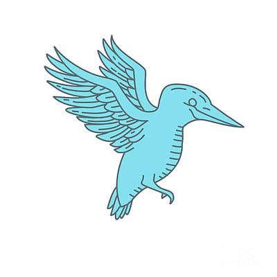 Kingfisher Flying Mono Line Poster