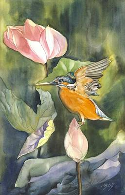 Kingfisher With Lotus Poster by Alfred Ng