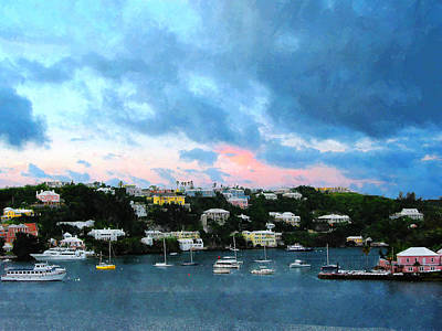 Poster featuring the photograph King's Wharf Bermuda Harbor Sunrise by Susan Savad