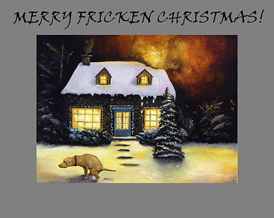 Kinkade's Worst Nightmare For Christmas  Poster by Leah Saulnier The Painting Maniac