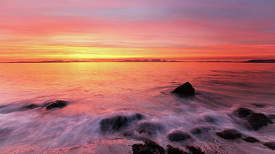 Poster featuring the photograph Kintyre Rocky Sunset 3 by Grant Glendinning