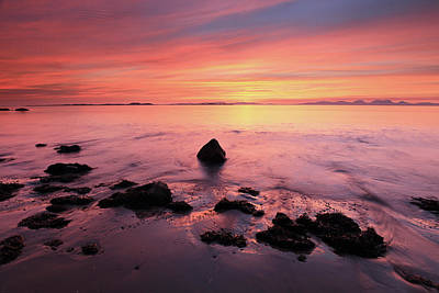 Poster featuring the photograph Kintyre Rocky Sunset by Grant Glendinning