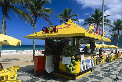 Kiosk On Ipanema Beach Poster by George Oze
