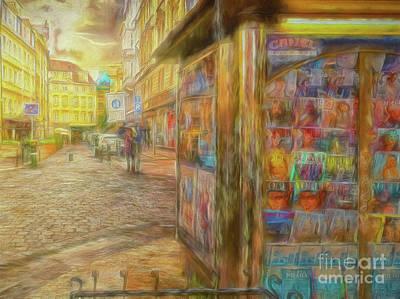 Kiosk - Prague Street Scene Poster
