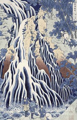 Kirifuri Fall On Kurokami Mount Poster by Hokusai