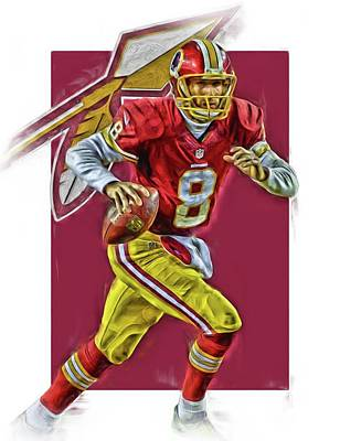 Kirk Cousins Washington Redskins Oil Art Poster by Joe Hamilton