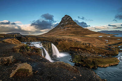 Kirkjufellsfoss Waterfall And Kirkjufell Mountain, Iceland Poster