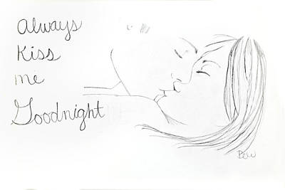 Poster featuring the drawing Kiss Me Goodnight by Rebecca Wood
