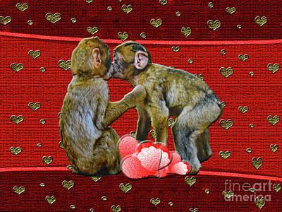Kissing Chimpanzees Hearts Poster