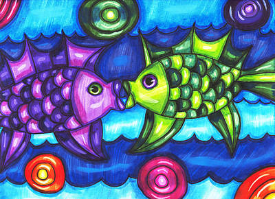 Kissing Fish Poster by Elizavella Bowers