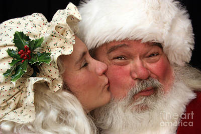 Kissing Santa Claus Poster