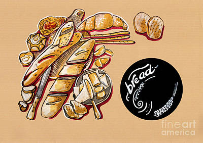 Poster featuring the drawing Kitchen Illustration Of Menu Of Bread Products  by Ariadna De Raadt