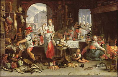Kitchen Scene With The Parable Of The Feast Poster by Joachim Wtewael