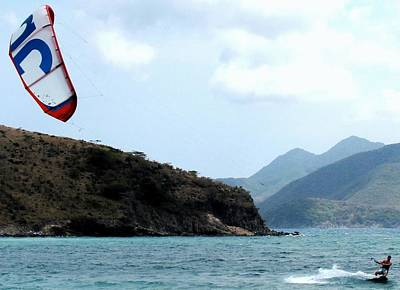 Kite Surfer St Kitts Poster by Ian  MacDonald
